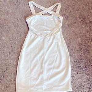 Low back white mini dress